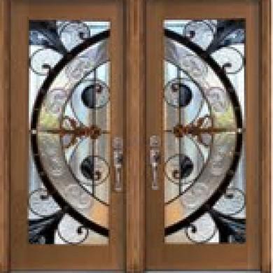 8-Foot Stained Glass Fiberglass Doors