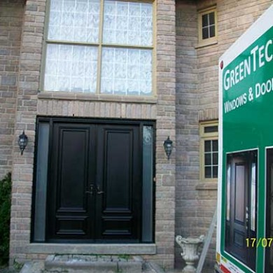 7-Smooth Fiberglass 8 foot Solid Doors installed by Fiberglass Doors Toronto