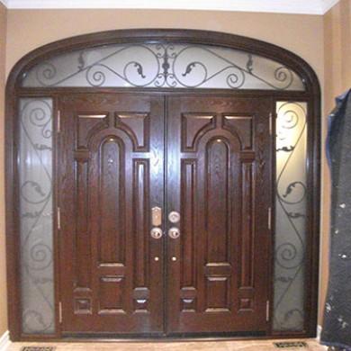 8 Foot Fiberglass Doors, Double Doors Parliament Design with 2 Iron Arts Side Lites and Transom, Inside View Installed by Fiberglass Doors Toronto