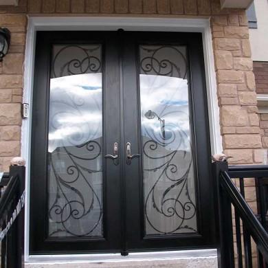 8-Foot-Fiberglass Doors, Exterior Double-Milan-Design-front-Door-with-Multi-Point-Locks-installed- by Fiberglass Doors Toronto in-Mississauga