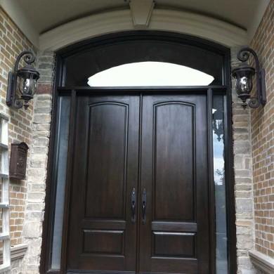 8-Foot-Fiberglass Doors, Exterior Double-Solid-Parliament-Front-Door-with-2-Side-Lites-and-Matching-Art-Transom-Installed- by Fiberglass Doors Toronto in-Woodbridge