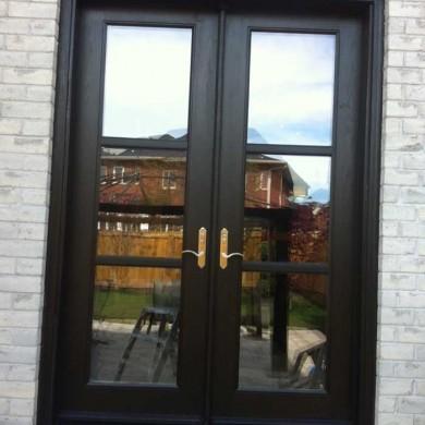 8-Foot-Fiberglass-Doors, French-Door-Installed-in-Back-Yard- by Fiberglass Doors Toronto in-Markham