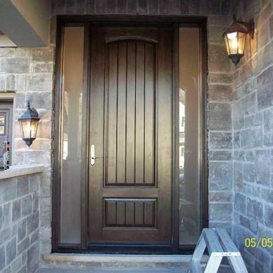 8-Foot Fiberglass Doors, Sigle Solid-Rustic Exterior Door-with-2-frosted Side-Lites-Installed- by Fiberglass Doors Toronto in-Newmarket-Ontario
