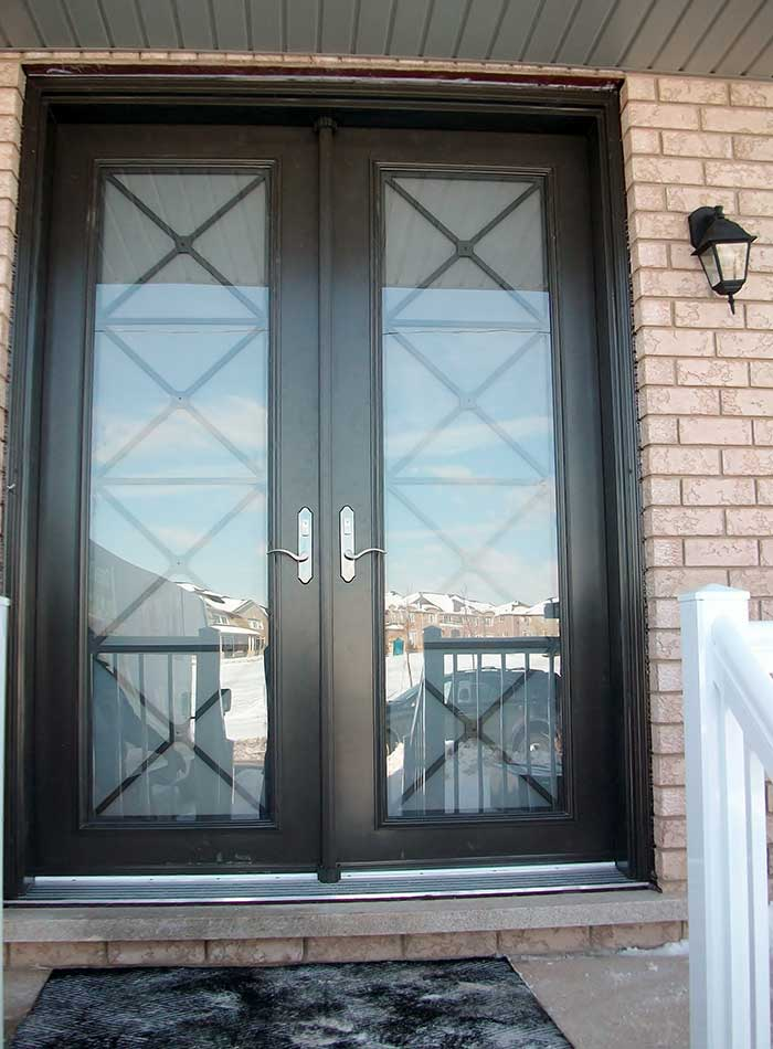 Fiberglass doors toronto 8 foot fiberglass doors for Double front doors with glass