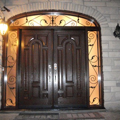 8 Foot Fiberglass Double Doors Parliament Design with 2 Iron Arts Side Lites and Transom Installed by Fiberglass Doors Toronto
