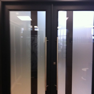 8 Foot Modern Fiberglass Doors, Exterior Double Doors with Frosted Glass by Fiberglass Doors Toronto