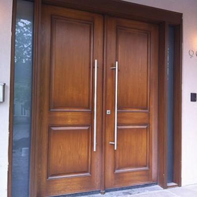 8 Foot Modern Fiberglass Doors, Exterior Wood Grain Double Doors with 2 Side Lites Installed by Fiberglass Doors Toronto