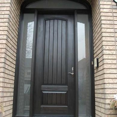 8-Foot-Single-Solid-Fiberglass-Door, Exterior Door-with-Rustic,-2-Frosted-Side-Lite Panel-&-Matching-Art-Transom by Fiberglass Doors Toronto