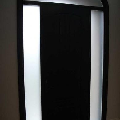 8-Foot-Single-Solid-Fiberglass Door-with-Rustic,-2-Frosted-Side-Lite-Panel-&-Matching-Art-Ransom-Installed- by Fiberglass Doors Toronto in-Burlington-Inside-View