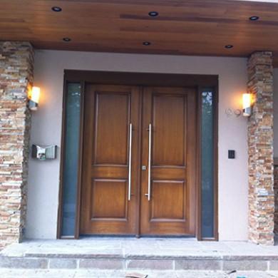 8 Foot Wood Grain Fiberglass Doors, Exterior Double Doors with 2 Frosted Glass Side Lites Installed by Fiberglass Doors Toronto