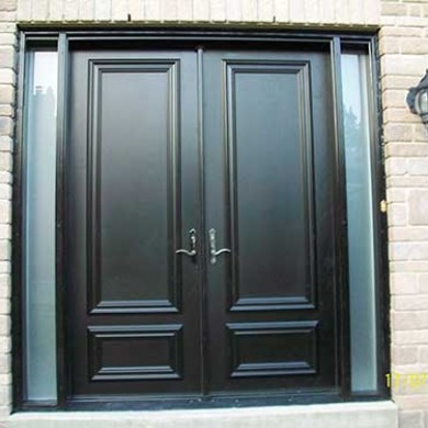 8 foot Smooth Fiberglass Solid Doors installed by Fiberglass Doors Toronto