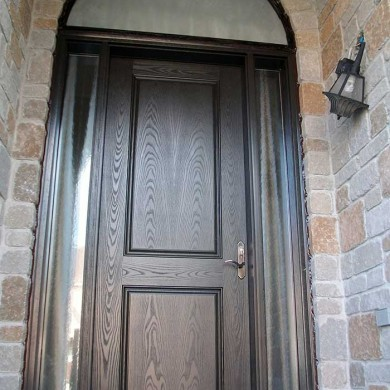 Executive Fiberglass Doors, 8-Foot-Single-Solid-Front-Door-with-2-Glazed-Side-Lites-and-Matching-Art-Transom-Installed-in-Newmarket by Fiberglass Doors Toronto