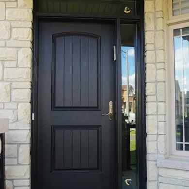 Fiberglass Executive Door with Rustic and Side Lite & Transom Installed in Richmondhill Ontario by Fiberglass Doors Toronto