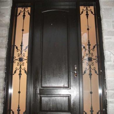 Fiberglass Executive Doors, 8-Foot-Fiberglass-Single-Solid-Front-Door-with-2-Iron-Art-Side-Lites-Installed-in-Brampton by Fiberglass Doors Toronto
