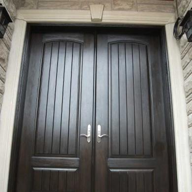 Fiberglass Executive Doors, 8-Foot-Fiberglass-Solid--Front-Parliament-Rustic-Double-Doors-with-Multi-Point-Locks-Installed-in-Aurora by Fiberglass Doors Toronto