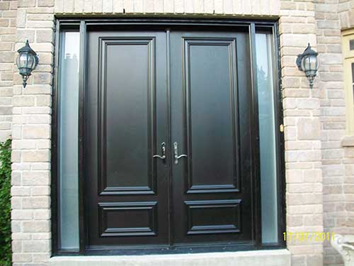 Fiberglass Executive Doors 8 foot Smooth Fiberglass Solid Doors installed in Vuaghan by Fiberglass Doors & Fiberglass Doors Toronto » EXECUTIVE FIBERGLASS DOORS