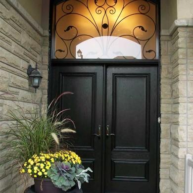 Fiberglass Executive Doors, Double Fiberglass Solid Front Door with Arch Design Transom Installed in Richmondhill by Fiberglass Doors Toronto
