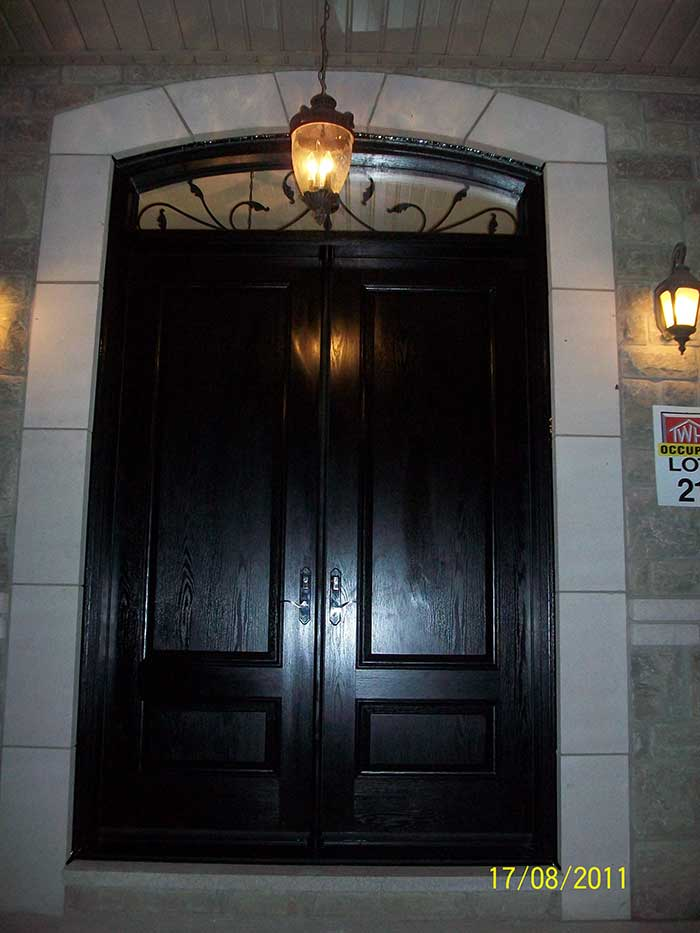 Fiberglass Double Entry Doors With Transom Glass Designs
