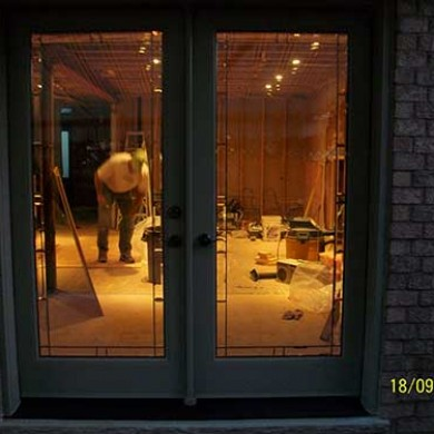 Flush Glazed Smooth Exterior Fiberglass French Doors installed by Fiberglass Doors Toronto
