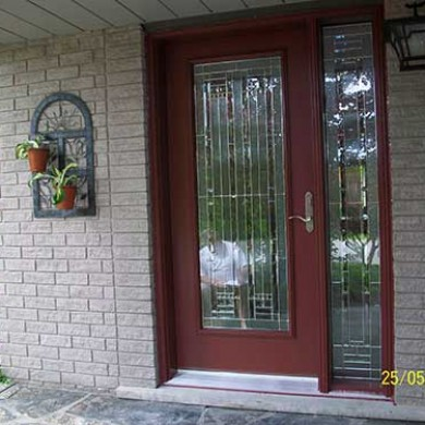 Smooth Exterior Fiberglass Door, Stained Glass Design installed by Fiberglass Doors Toronto