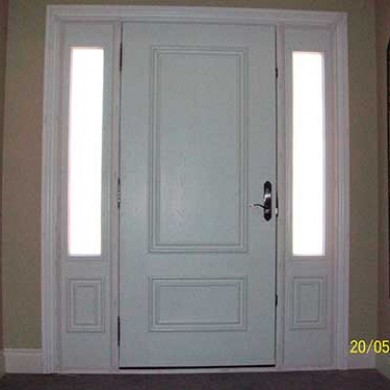 Smooth Exterior Fiberglass Doors with Side Lights installed by Fiberglass Doors Toronto