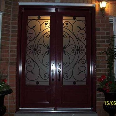 Smooth Exterior Fiberglass Double Doors installed by Fiberglass Doors Toronto
