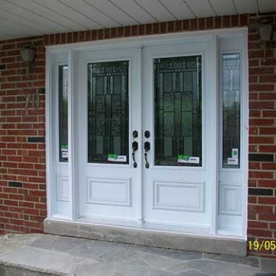 Smooth Fiberglass Doors Stained Glass Design installed by Fiberglass Doors Toronto