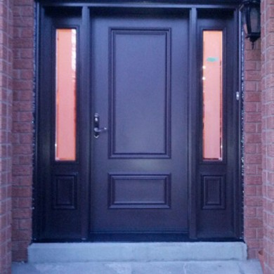 Smooth Single Fiberglass Door with 2 Side Lites by Fiberglass Doors Toronto
