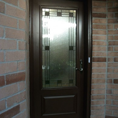 Smooth Stained Glass Single Door Installed by Fiberglass Doors Toronto