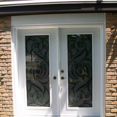 White Jullietta Smooth Exterior Fiberglass Doors With Multi Points Locks  Installed By Fiberglass Doors Toronto