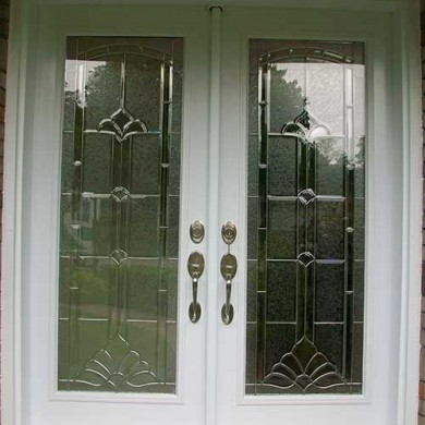 White Smooth Exterior Stained Glass Design Fiberglass Doors with Multi point Locks Installed by Fiberglass Doors Toronto