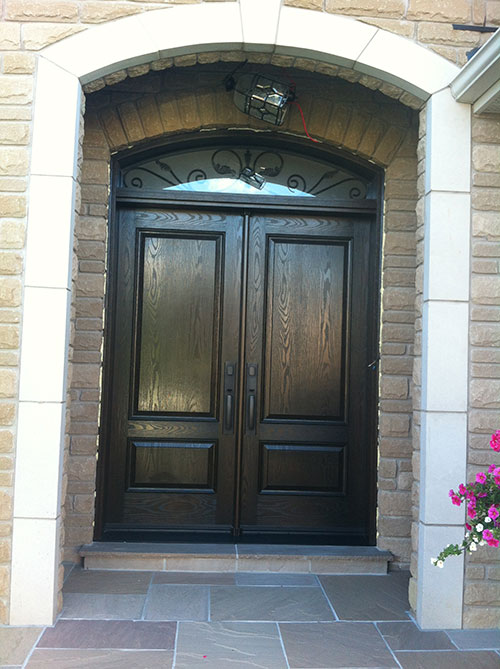 Amusing Fiberglass Double Entry Doors With Transom Contemporary