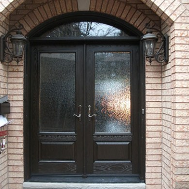 Woodgrain Stained Glass Fiberglass Doors with Arch Transom Installed by Fiberglass Doors Toronto