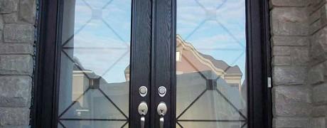 Custom Double Door Fiberglass Woodgrain with Iron Glass Design & Matching Arch Transom Installed by Fiberglass Doors Toronto in Berrie