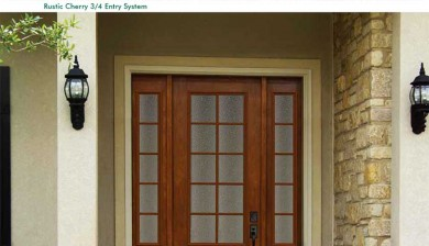 Richerson MasterGrain Premium Fiberglass Entry Doors- Richerson Rustic Cherry Collection-Rustic Cherry 3-4 Entry System by Fiberglass Doors Toronto