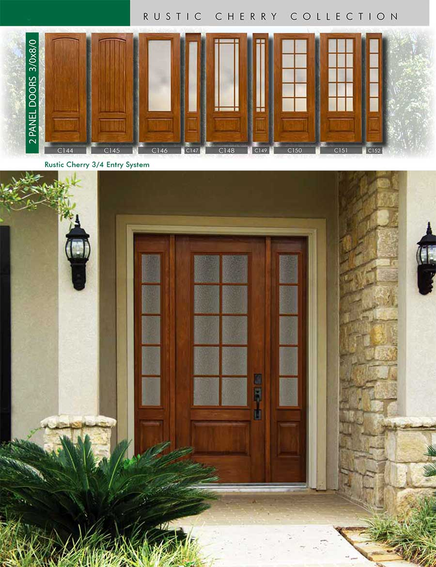Richerson MasterGrain Premium Fiberglass Entry Doors- Richerson Rustic Cherry Collection-Rustic Cherry 3-4 Entry System by Fiberglass Doors Toronto
