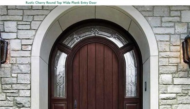 Richerson MasterGrain Premium Fiberglass Entry Doors- Richerson Rustic Cherry Collection-Rustic Cherry Round Top Wide Plank Entry Door by Fiberglass Doors Toronto