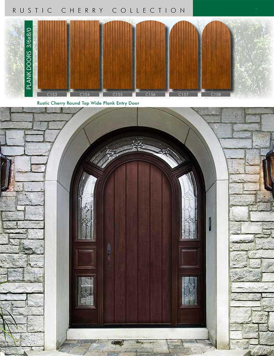 Richerson MasterGrain Premium Fiberglass Entry Doors- Richerson Rustic Cherry Collection-Rustic Cherry Round Top Wide Plank Entry Door by Fiberglass Doors Toronto