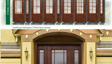 Richerson MasterGrain Premium Fiberglass Entry Doors- RichersonTraditional Mahogany Collection-Traditional Mahogany 3 Panel Entry Doors by Fiberglass Doors Toronto