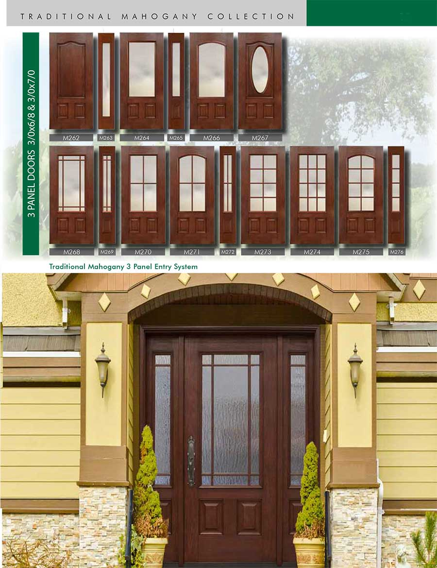Richerson MasterGrain Premium Fiberglass Entry Doors- RichersonTraditional Mahogany Collection-Traditional Mahogany 3 Panel Entry Doors by Fiberglass Doors Toronto