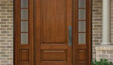 Traditional 2 panel cherry entry system-Richerson MasterGrain Premium Fiberglass Entry Doors by fiberglassdoorstoronto