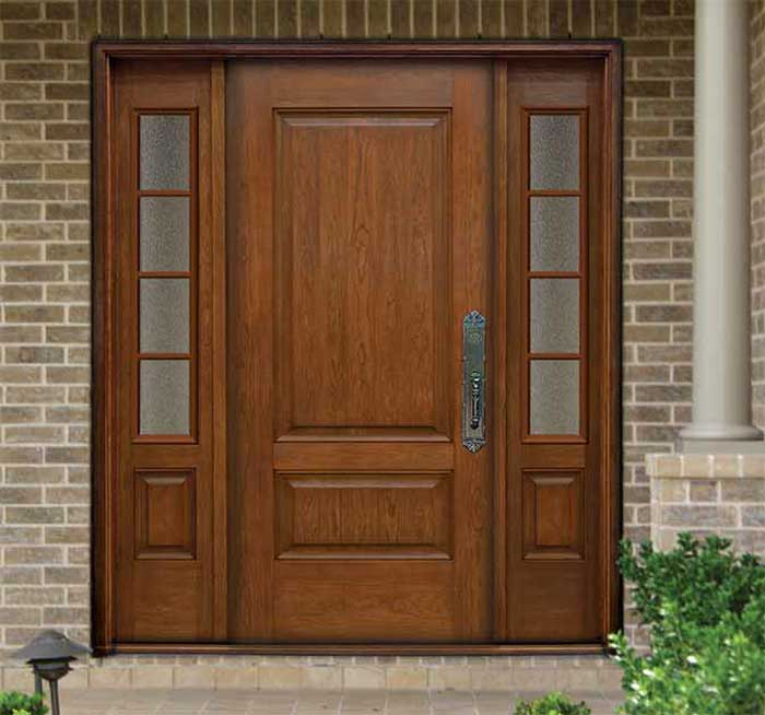 Traditional 2 Panel Cherry Entry System Richerson MasterGrain Premium Fiberglass  Entry Doors By Fiberglassdoorstoronto