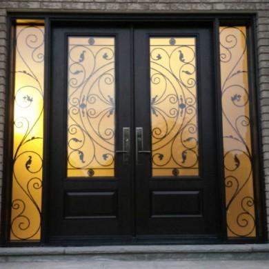 Wrought Iron Woodgrain Fiberglass Double Doors with 2 side lites installed in Thornhill by Fiberglassdoorstoronto.net