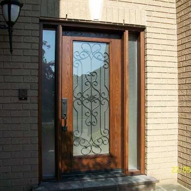 1-Fiberglass Door-Front Single Fiberglass woodgrain with Paris Design & 2 side Lights installed by Fiberglass Doors Toronto