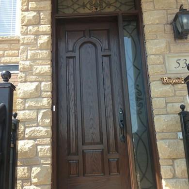 111-Fiberglass Doors, Woodgrain 8 panel Single Exterior Door with Side lite & Transom by Fiberglass Doors Toronto
