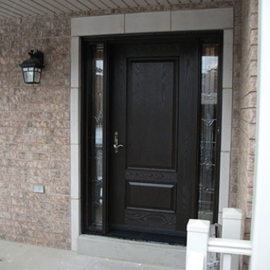 13- Single Door After Instllation, Fiberglass Door, Woodgrain Single Exterior Door with 2 Stained Glass Side Lites Installed by Fiberglass Doors Toronto