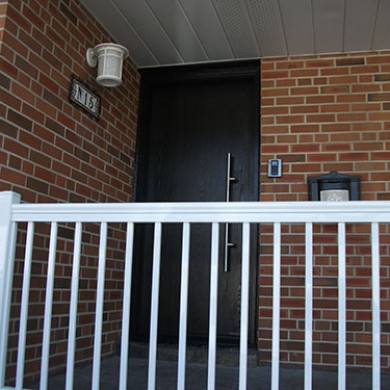 15- Single Fiberglass Door After Installation, Fiberglass Modern Single Door Installed Fiberglass Doors Toronto