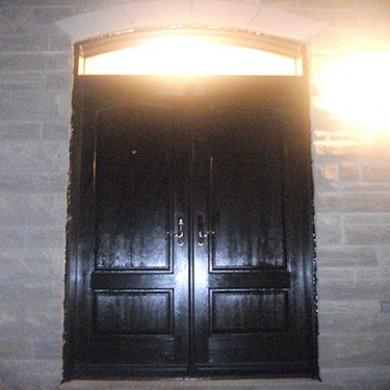 7- Double Door After Installation, Fiberglass Doors, Solid Exterior Double Door with Transom, Outside View Installed by Fiberglass Doors Toronto
