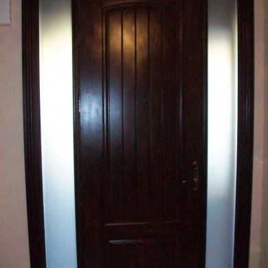 8 Foot Fiberglass Door, Solid-Rustic-Exterior Door-with-2-frosted-Side-Lites-Installed- by Fiberglass Doors Toronto in-Newmarket-Ontario-Inside-View
