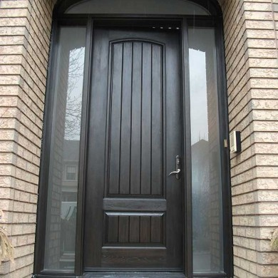 8 Foot Fiberglass Door-with-Rustic,-2-Frosted-Side-Lite-Panel-&-Matching-Art-Transom by Fiberglass Doors Toronto
